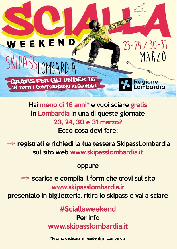 Secondo weekend di sci gratis per gli under 16 lombardi
